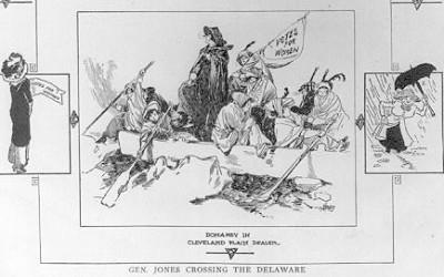 "In February 1913, a group of women set out on a ""suffrage hike"" from Newark, New Jersey, to Washington, D.C., where suffragists protested Woodrow Wilson's…"