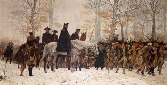 Washington's forces enter winter quarters at Valley Forge