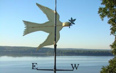 The Dove of Peace weathervane atop Mount Vernon's cupola.