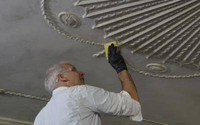 Conservation of the decorative plaster ceiling which dates to the 1780s.