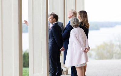 President Donald Trump, Frist Lady Melania, French President Emmanuel Macron, and his wife Brigitte enjoying the iconic view with Mrs. Sarah Miller Coulson…