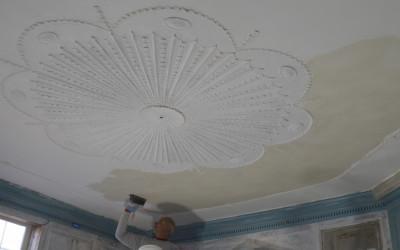 Whitewashing the ceiling using period-based whitewash recipe.