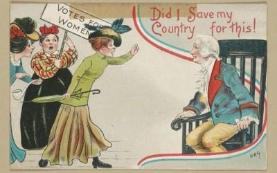 "An encounter with three protesting suffragists leads a concerned George Washington to wonder, ""Did I save my country for this""? Anti-suffragists commonly…"