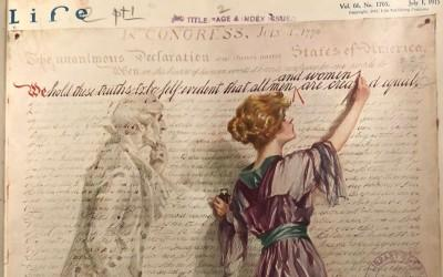 "As the shadowy figure of Thomas Jefferson looks on, a suffragist adds ""and women"" to the Declaration of Independence's famous assertion that ""all…"