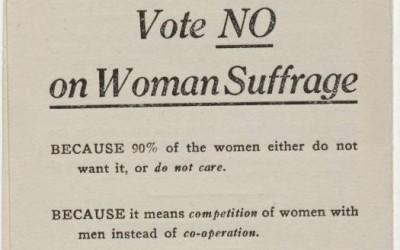 This ca. 1910 pamphlet from the National Association Opposed to Woman Suffrage outlines anti-suffrage arguments.