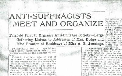 This 1911 Connecticut newspaper headline highlights an anti-suffrage meeting held at the home of Vice Regent Annie Burr Jennings.