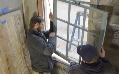 Removing the sash cord and south window.