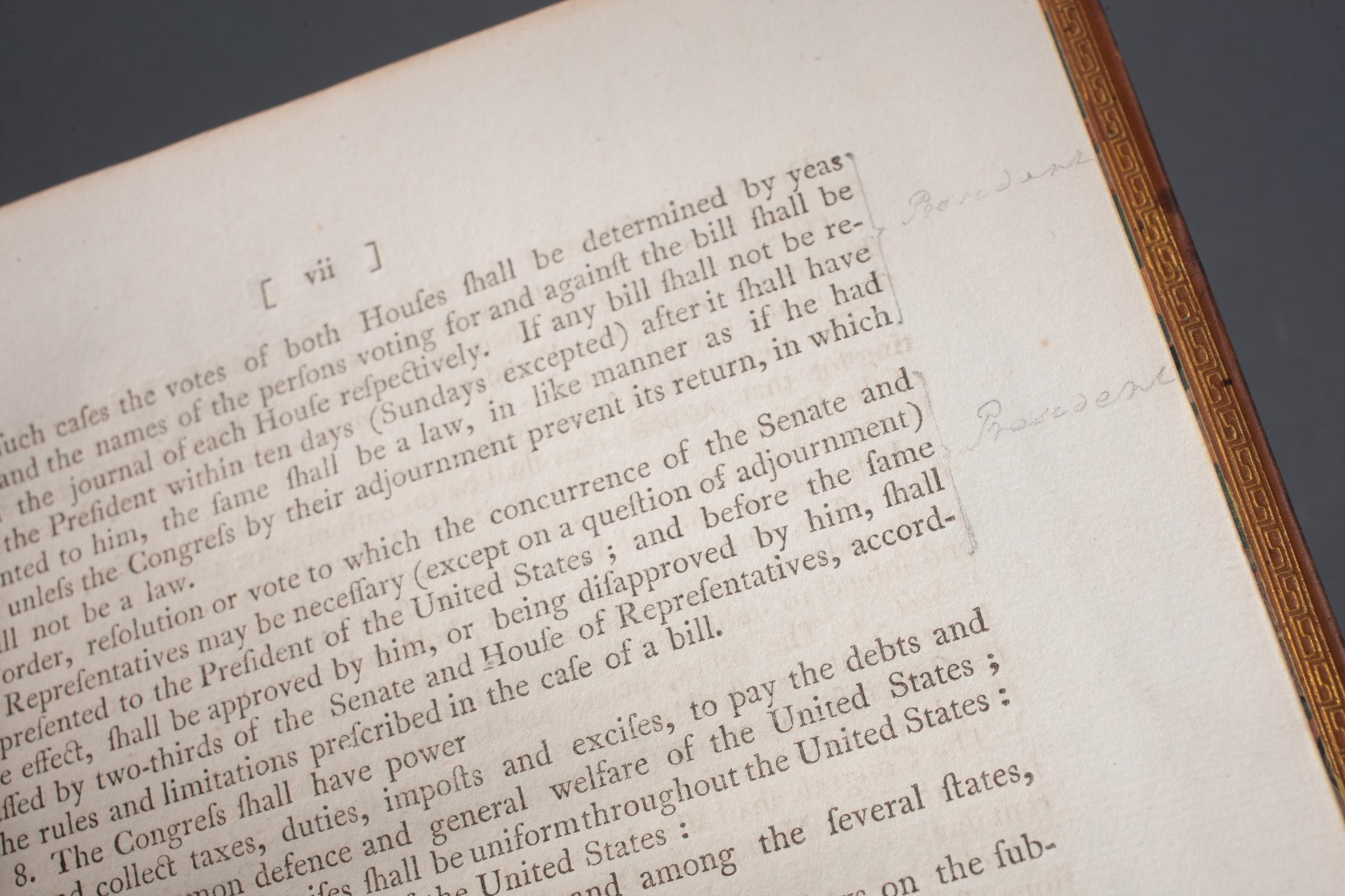 Detail of Washington's penciled annotations as printed in Acts Passed at a Congress of the United States of America (1789), MVLA [RL-6605]