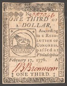 "A paper ""continental"" bill – it was hard currency that tended to influence agents and recruit spies."