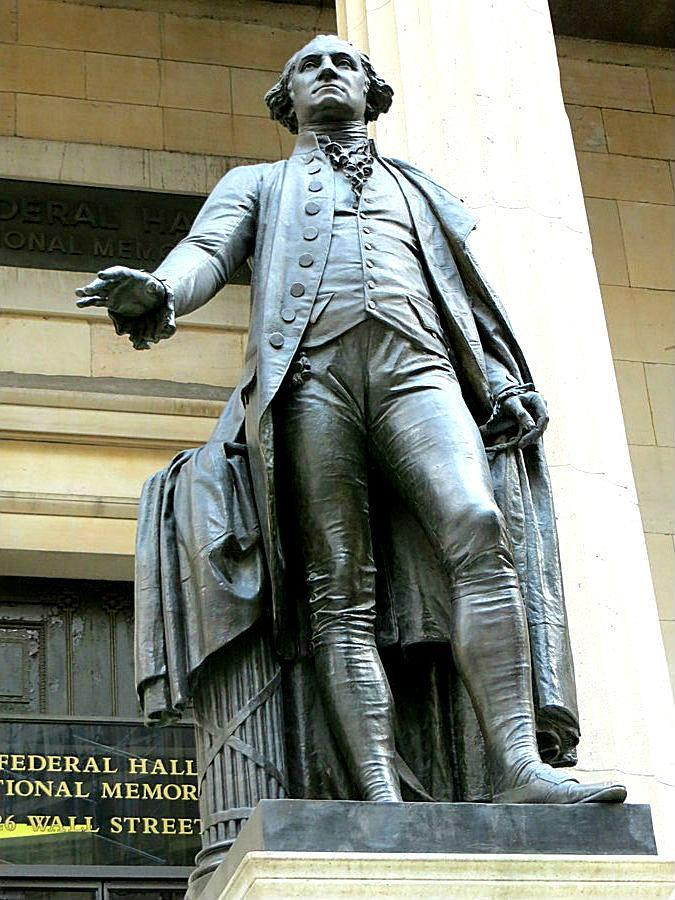 The statue of George Washington at Federal Hall in Manhattan, New York City. It stands on the spot where Washington was sworn in as the first President of the United States (Wisniewski)