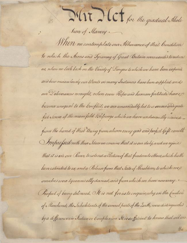 The first page of the 1780 Gradual Emancipation Act. Courtesy of the Pennsylvania Historical & Museum Commission