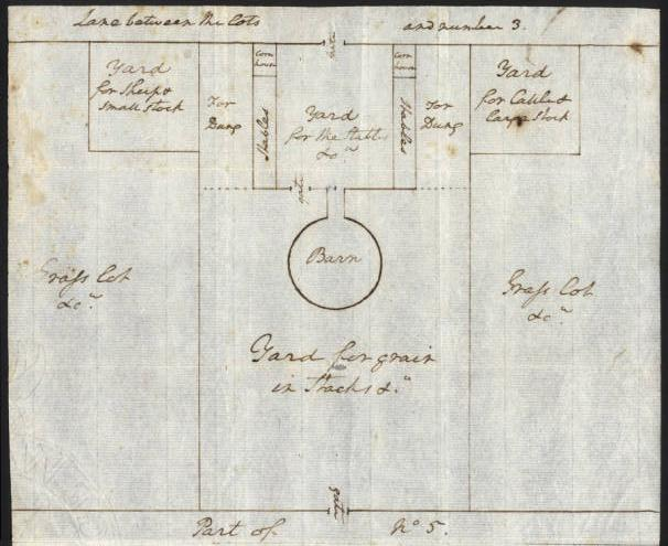 A 1795 plan of the barnyard complex, including the barn, stables, corn houses, fencing and livestock pens. The barn is probably the best documented agricultural building of the period.