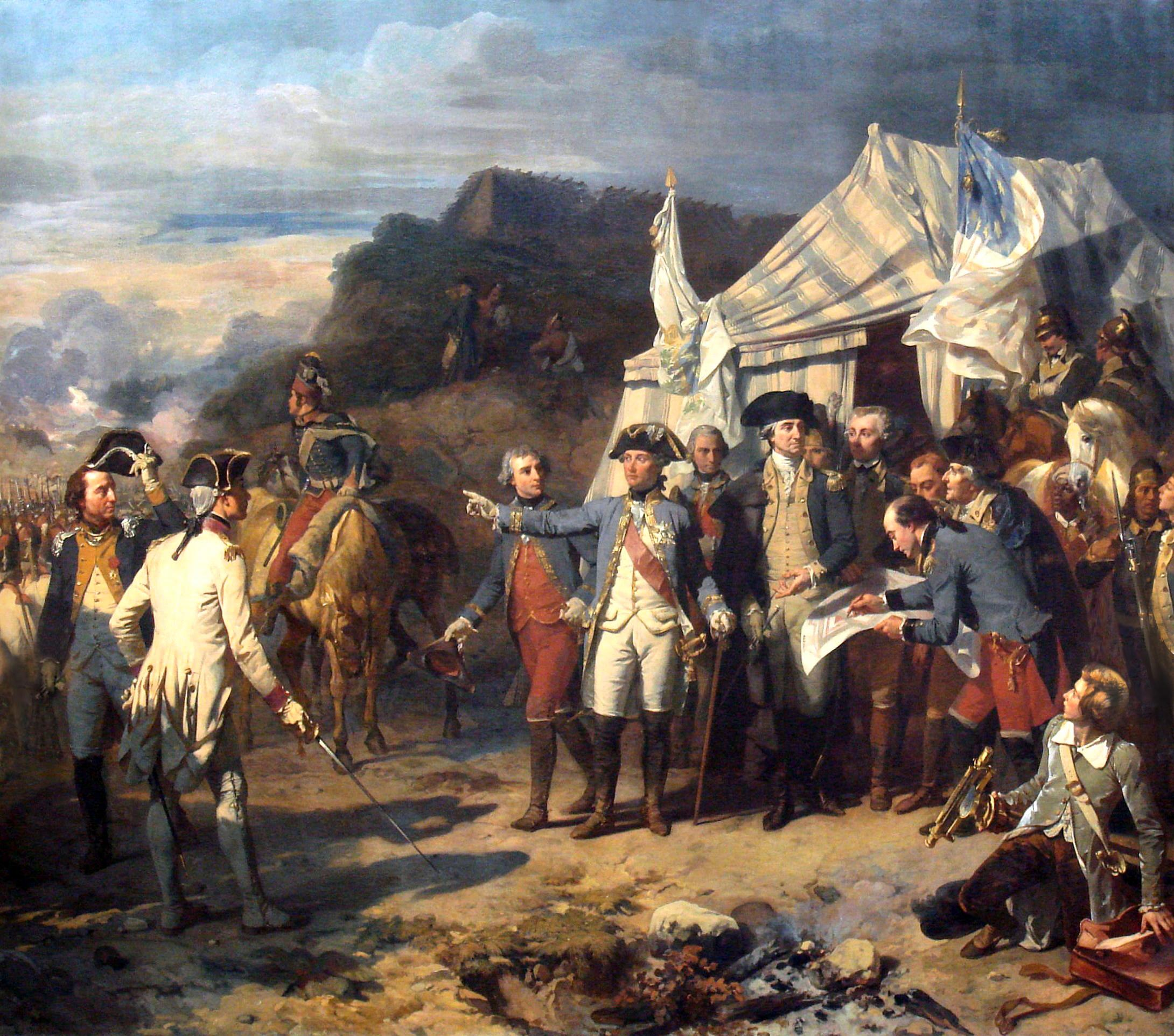 Washington and Rochambeau conferring during the Yorktown Campaign (Art Resources)