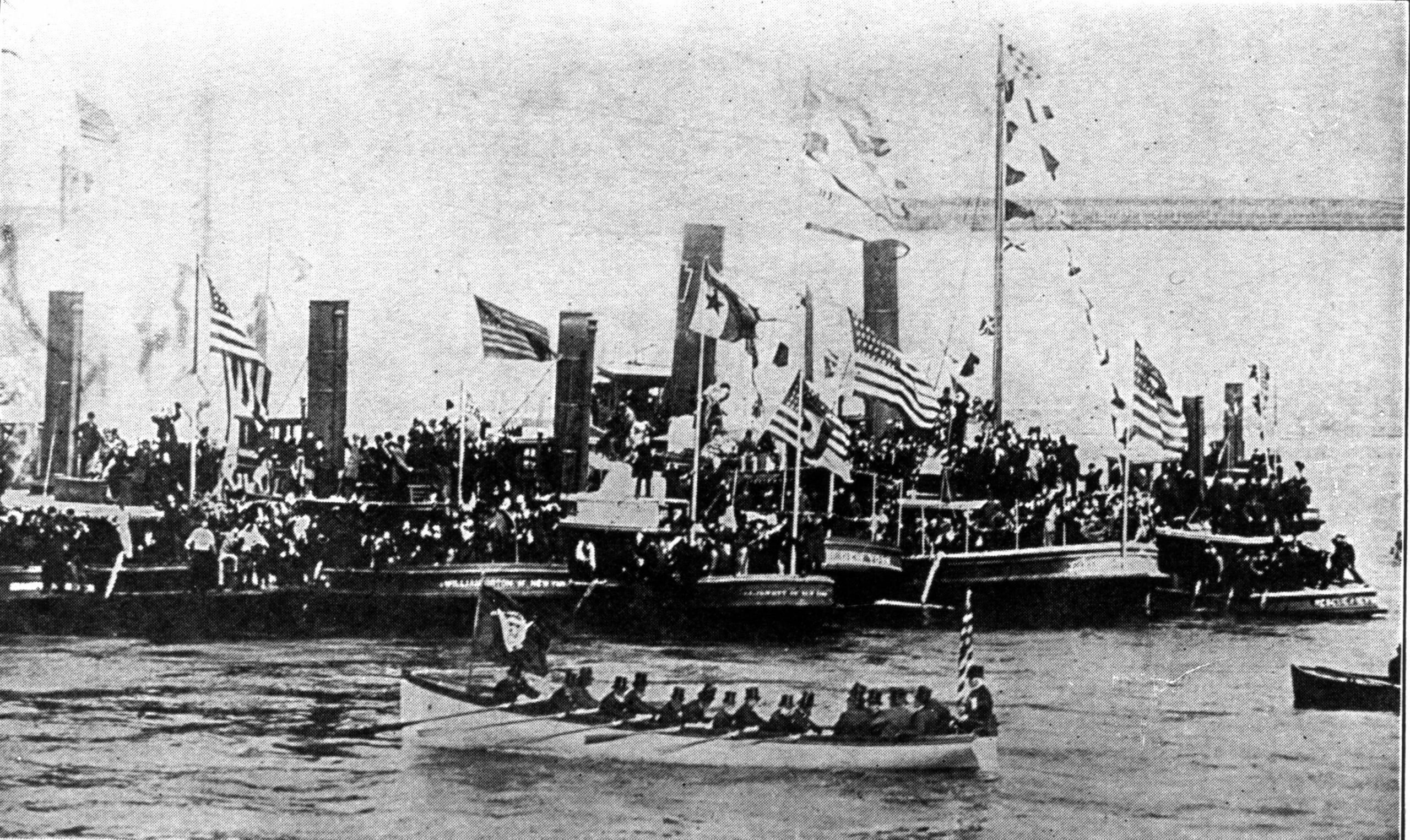 President Harrison being rowed ashore at foot of Wall Street, New York, April 29, 1889 (Wikimedia)