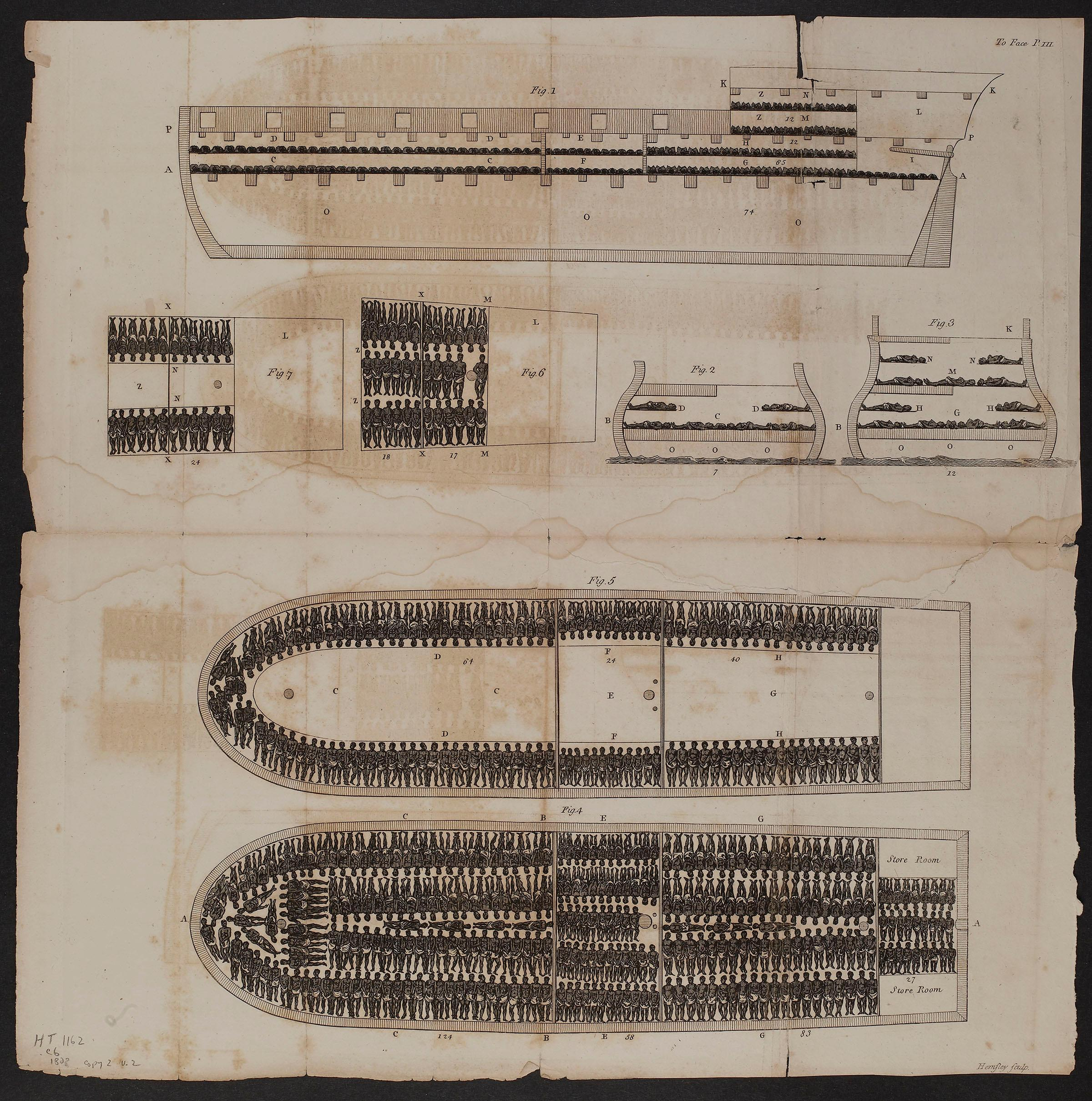 "Detail, ""Stowage of the British Slave Ship Brookes"" Thomas Clarkson, The History ... Of The African Slave-Trade, 1808 Albert and Shirley Small Special Collections Library, University of Virginia."