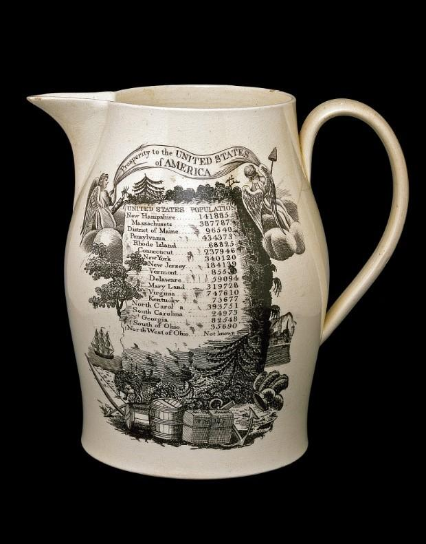 "Census Jug. An English pottery factory made this jug, decorated with state population totals and images representing America's natural resources, agriculture, and commerce. Two angels hold a banner emblazoned with the words ""Prosperity to the United States of America."" Although the U.S. economy grew after the Revolution, Americans continued to import pottery from Britain well into the nineteenth century. National Museum of American History."