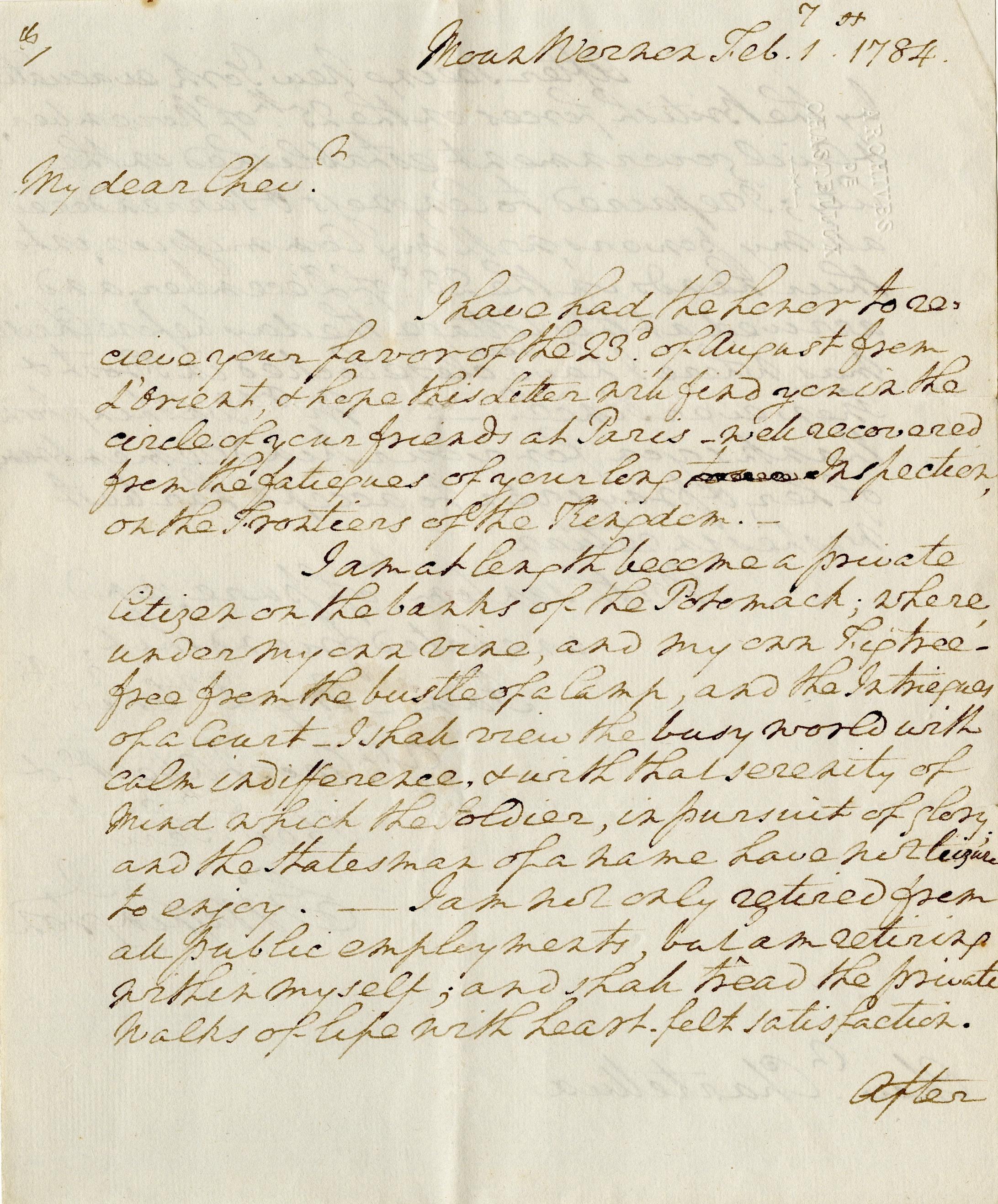 Letter written by George Washington to Chastellux, 1 February 1784. Washington Library at Mount Vernon. Courtesy of Ann Cady Scott.