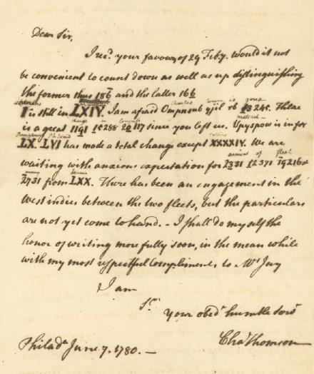 The Coded Charles Thomson letter of June 7, 1780