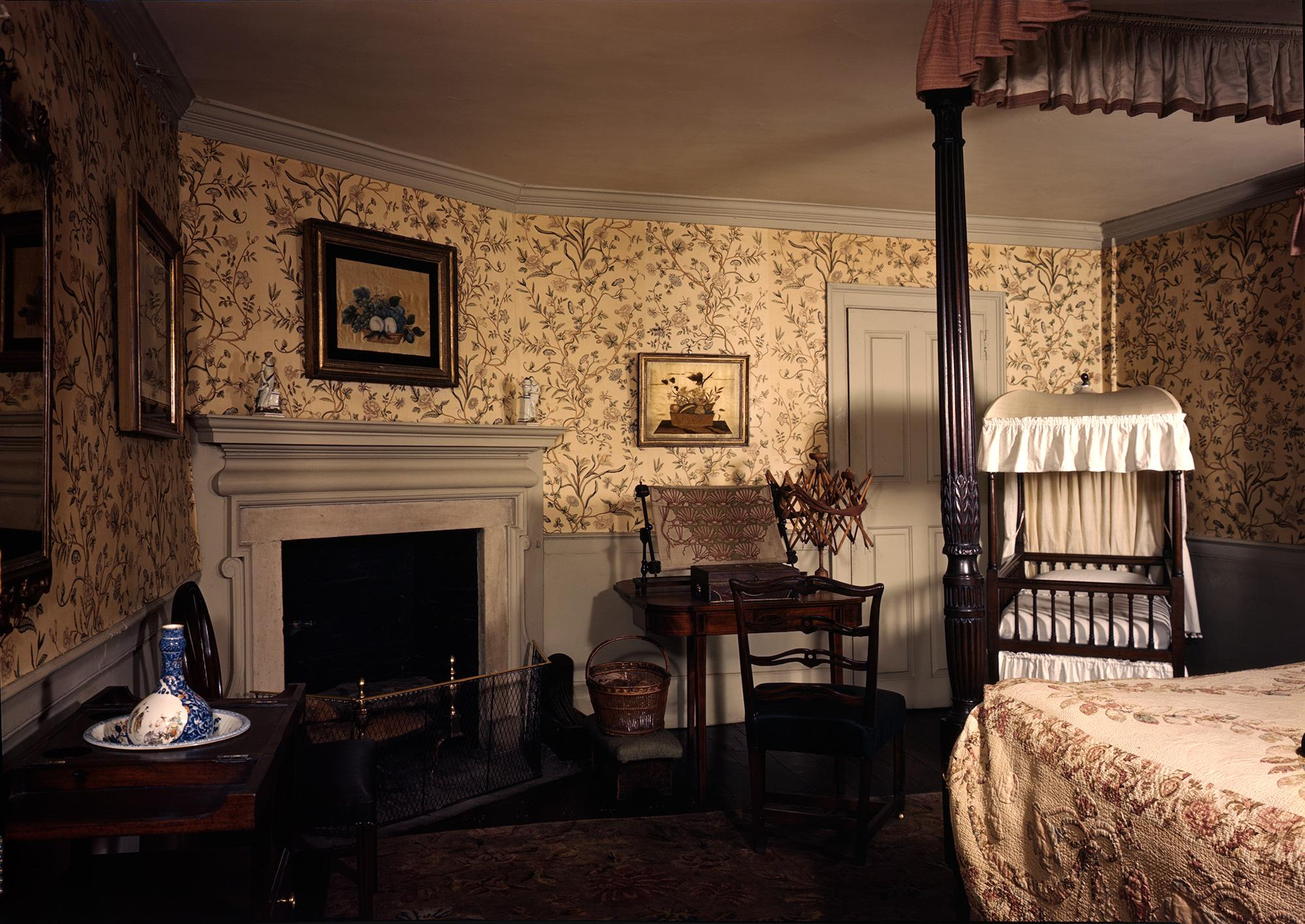 The Nelly Custis Room, aka the Chintz Room, with reproduction chintz pattern wallpaper, 1959. Photograph by Samuel Chamberlain