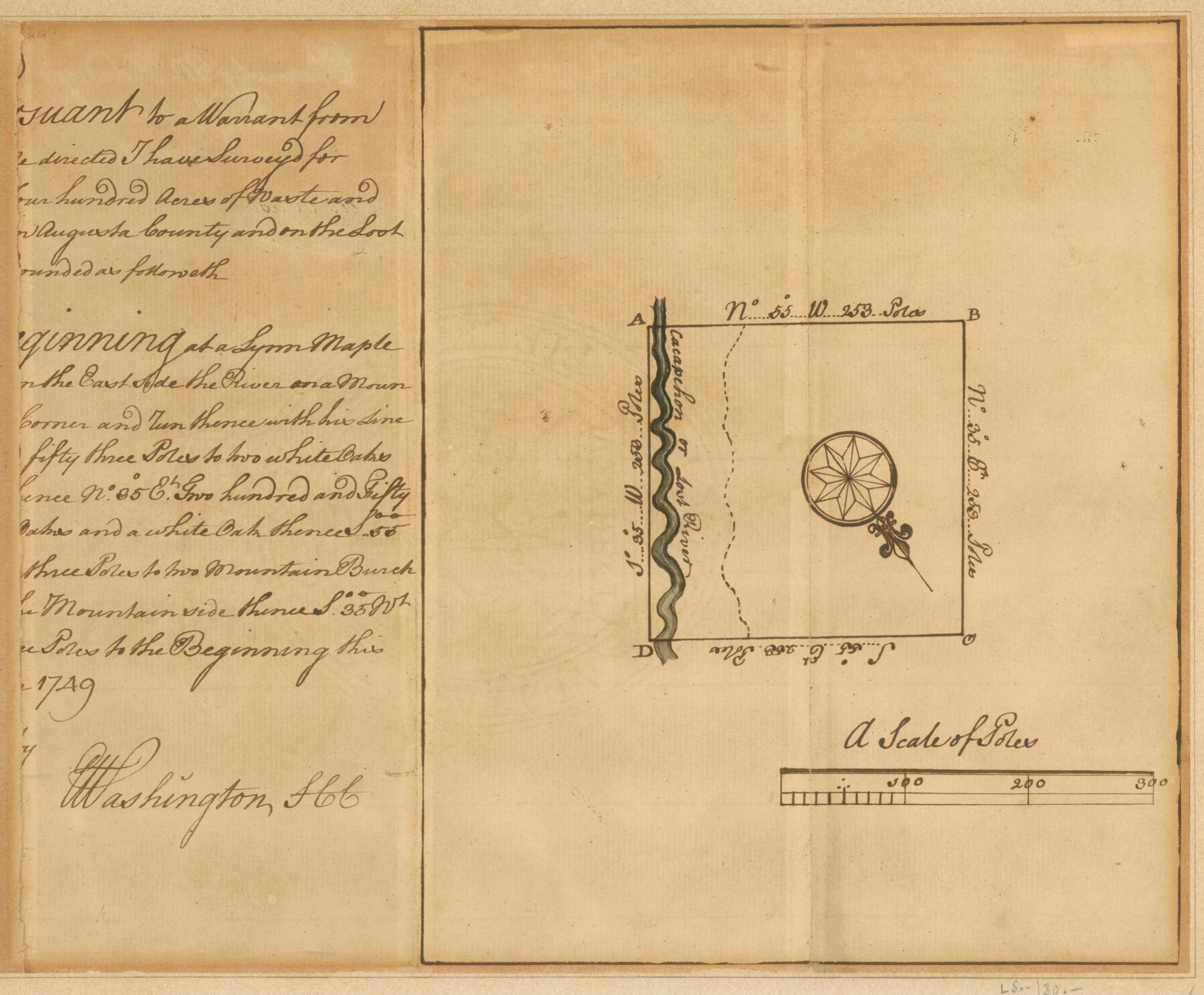 "Survey and Plat by George Washington for Barnaby McHandry, 1749. Signed ""Washington, SCC"" (Surveyor of Culpeper County). Purchased with funds donated by Jim and Jo Carol Porter in memory of L. Carlton Brown, Jr. and his father, 2008 [MS-5828]."