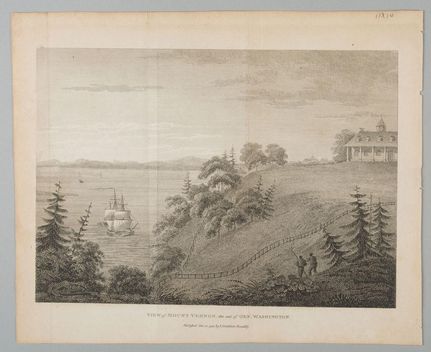 View of Mount Vernon, the Seat of Gen. Washington, Isaac Weld, MVLA EV-4361.2/RP-646, Gift of Mrs. John H. Guy, Jr., Vice Regent for Virginia, 1995.