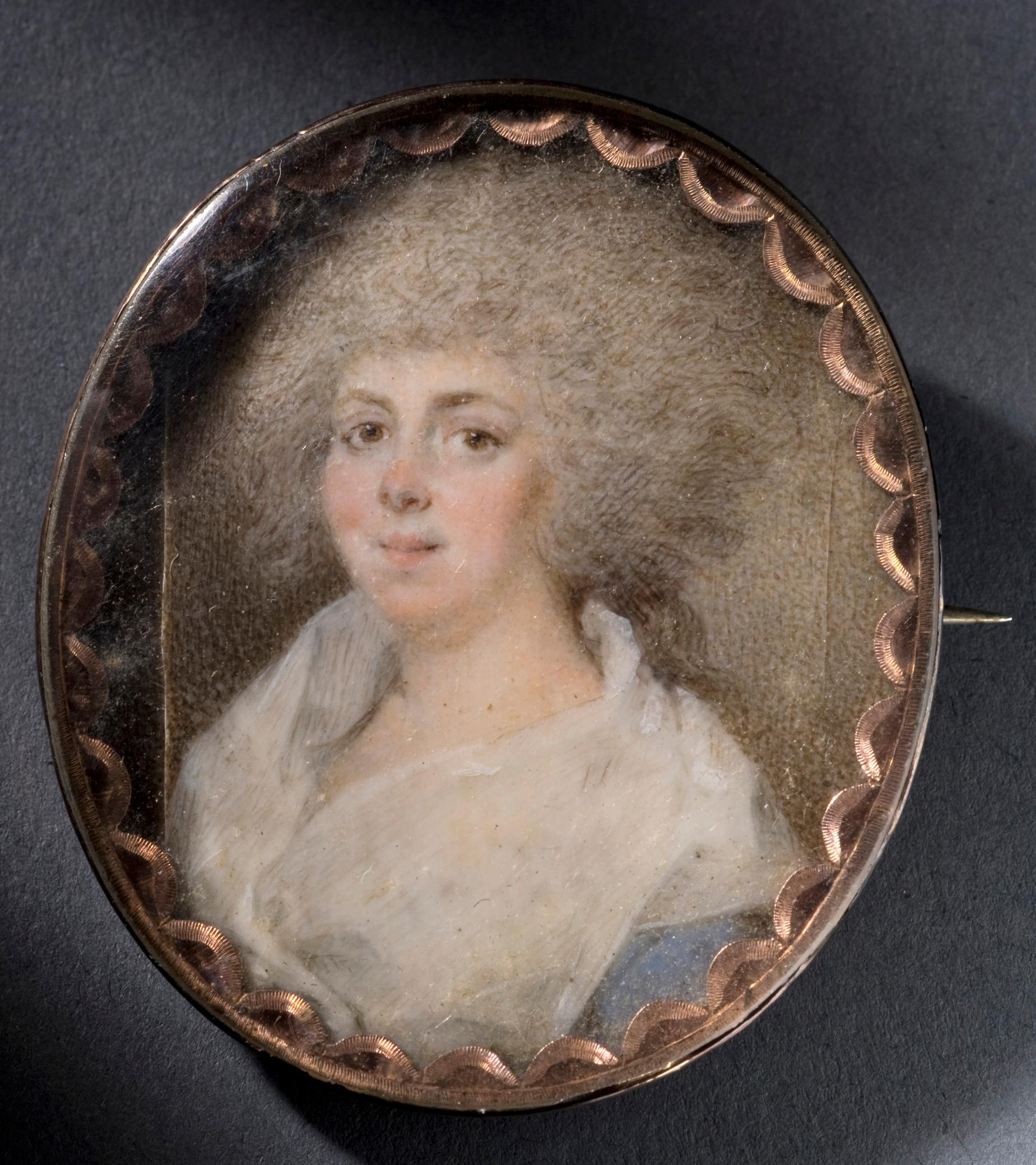 This miniature portrait of Eleanor Calvert Custis is set in a gold oval broach. It was made in 1782, one year prior to wedding David Stuart. MVLA.
