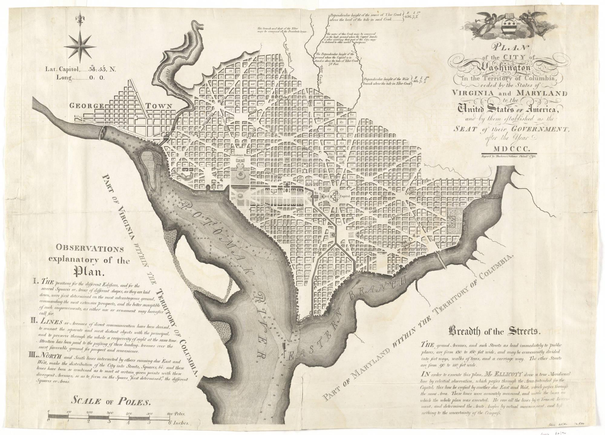"Andrew Ellicott's ""Plan of the city of Washington in the territory of Columbia"" [1792]. MVLA, Richard H. Brown Revolutionary War Map Collection"