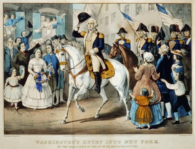 Washington's entry into New York: on the evacuation of the city by the British, Nov. 25th. 1783 by Currier & Ives, c. 1857, hand-colored lithograph, Library of Congress.