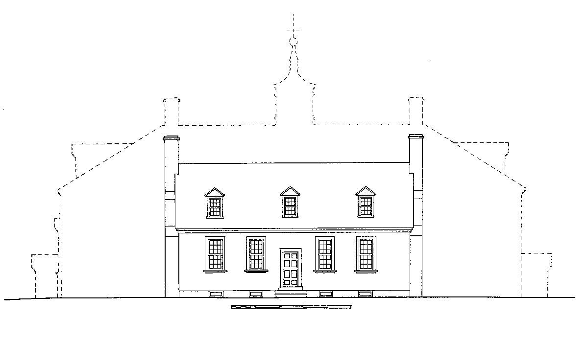 Conjectural sketch of the original 1734 house, MVLA.