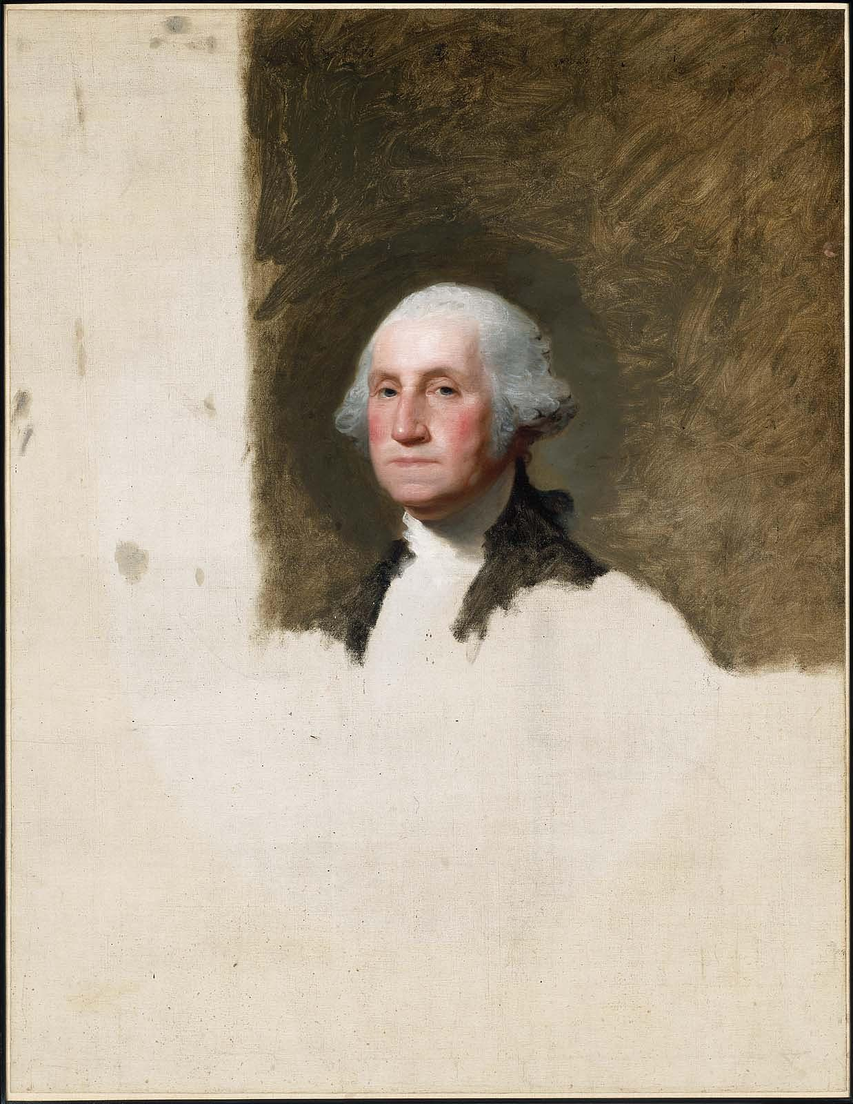 Gilbert Stuart's unfinished portrait of George Washington. The portrait of George Washington is now infamous as the Athenaeum portrait and an engraving of it is the one seen in the dollar bill. Stuart never completed or returned these portraits despite Martha Washington's numerous requests. But, he did make and sell over a hundred copies of this George Washington bust. 1796. Museum of Fine Arts, Boston.
