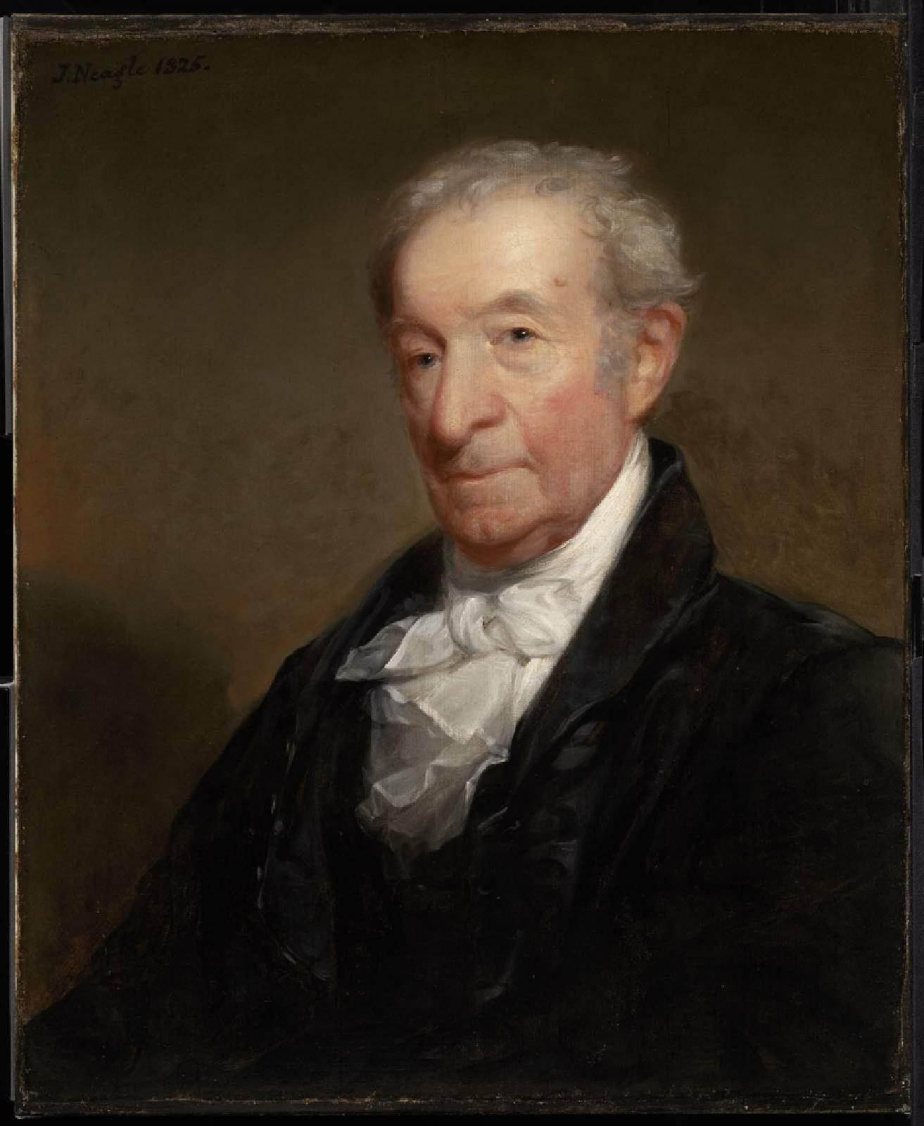 Gilbert Stuart by fellow painter John Neagle of Philadelphia. Neagle was one of Stuart's later American pupils who was inspired by Stuart and credited him for the European influences in his art. Neagle painted this piece in 1825 when he visited Stuart in Boston, three years before Stuart's death. Museum of Fine Arts, Boston.