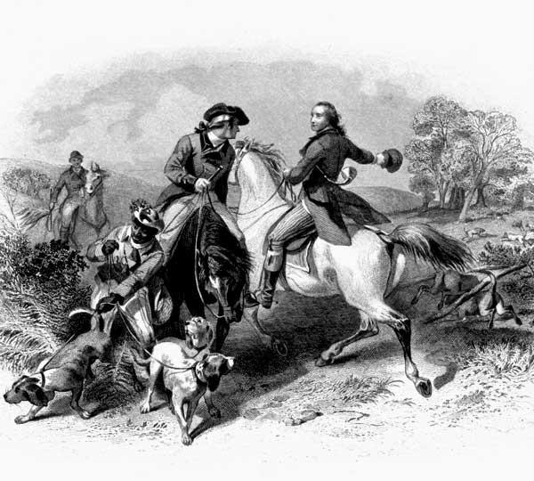 Engraving of George William Fairfax Fox Hunting with George Washington (Felix O. C. Darley)
