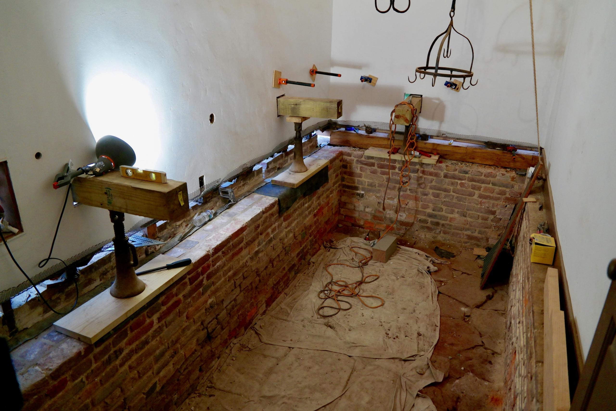 Restoration work inside the original Kitchen. MVLA.