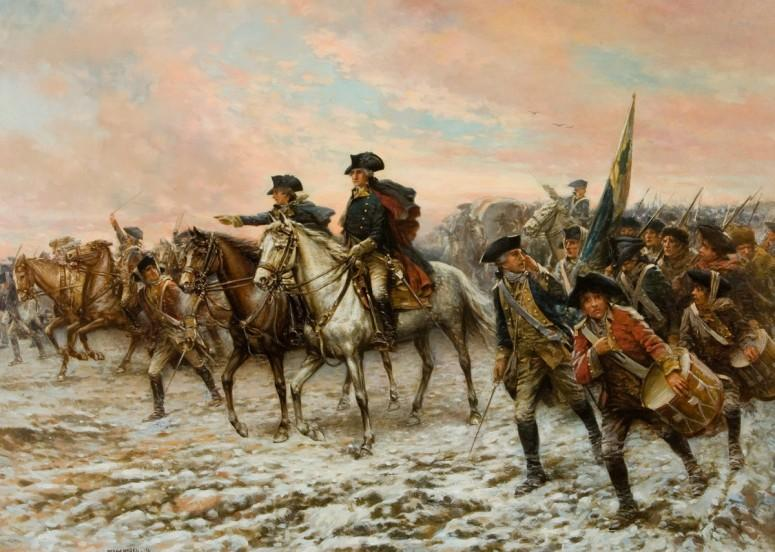 Hour of Victory, by Edward Percy Moran, portrays Washington and his troops marching towards Trenton (Mount Vernon Ladies' Association)