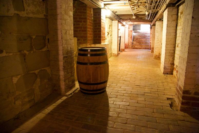 The central passageway through the Mount Vernon cellar