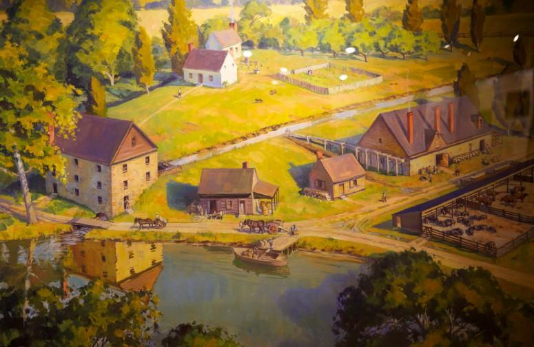 Painting showing Washington grist mill (on left) near the cooperate (middle) and the distillery (upper right). These integrated operations greatly expanded Washington's ability to profit from his agricultural efforts. (Mount Vernon Ladies' Association)