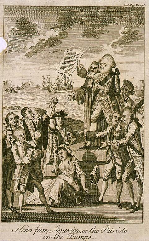 "News from America, or the Patriots in the Dumps."" This London Illustrated cartoon shows Lord North holding up reports of American defeats in 1776. (Library of Congress"