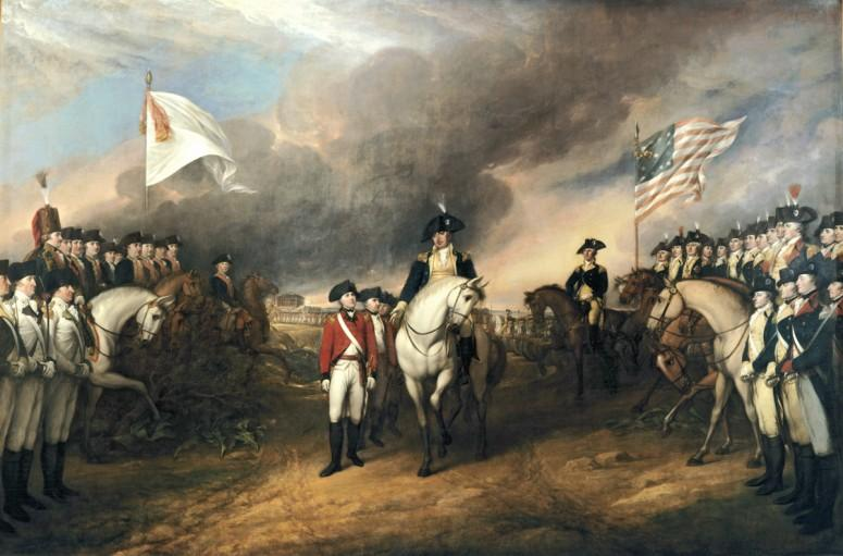 The surrender of the British forces at Yorktown. Painting by John Trumbull (US Capitol)