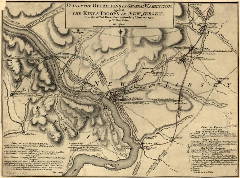 Plan of Operations of General Washington against the King's Troops in New Jersey by William Faden, 1777 (Library of Congress Geography and Maps Division)
