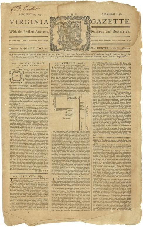 Front page from the August 26, 1775 edition of the Virginia Gazette newspaper. This edition includes a rare sketch of the Breed's Hill/Bunker Hill battlefield. (Todd Andrlik Collection)