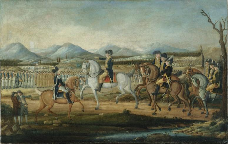 George Washington reviewing the troops being deployed against the Whiskey Rebellion - Washington Reviewing the Western Army, at Fort Cumberland, Maryland, ca.1795. [63.201.2]. Courtesy The Metropolitan Museum of Art, New York, NY.