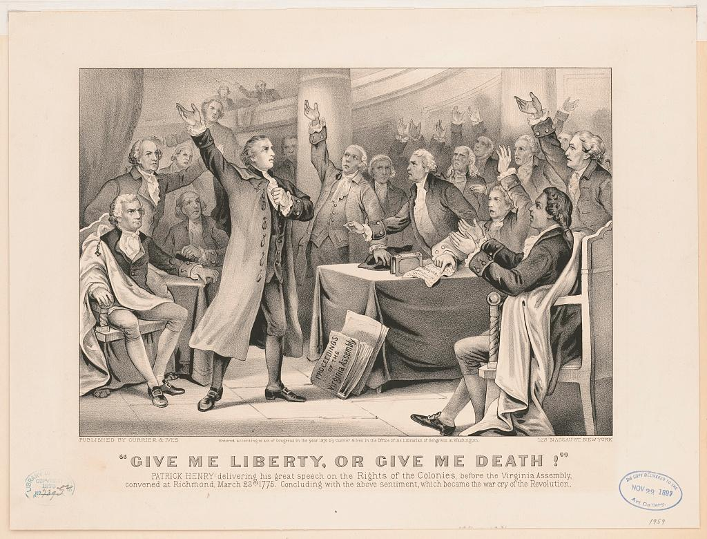 "An 1876 rendering of Patrick Henry's ""Liberty or Death"" speech. Library of Congress Prints and Photographs Division, Washington, D.C."