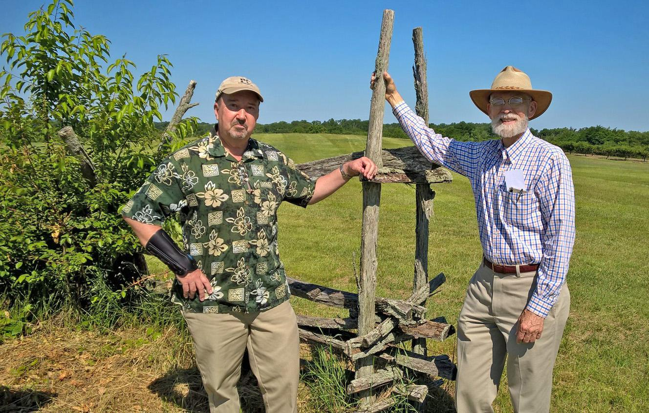 Mark Edward Lender (left) and Garry Wheeler Stone (right) at the Monmouth Battlefield (Penny Page)