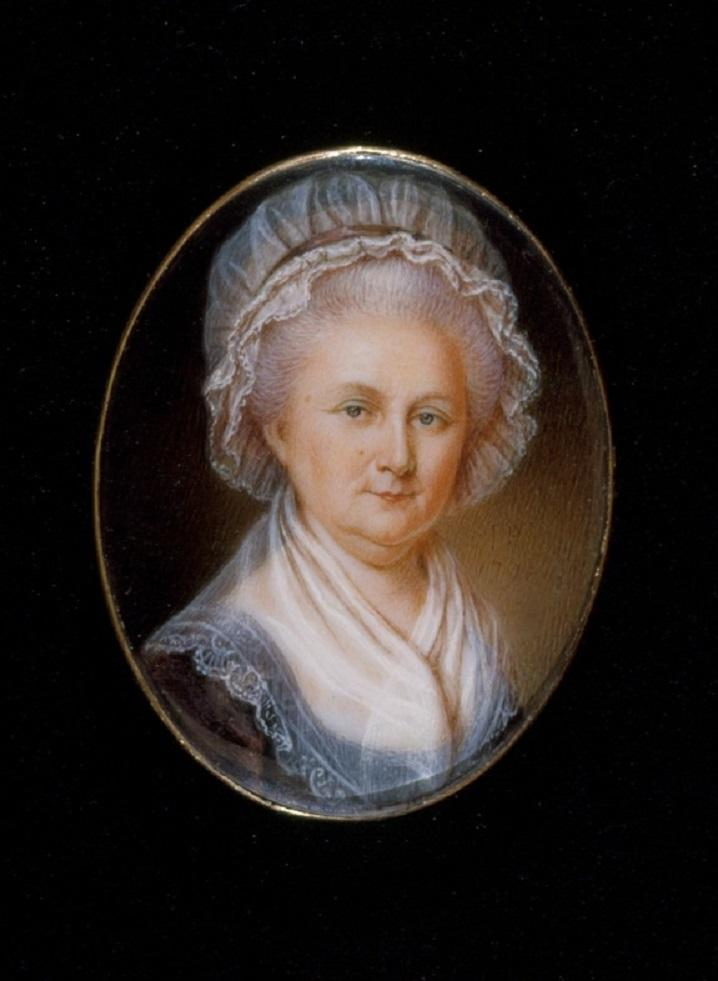 Martha Washington, 1796, by James Peale, Bequest of Margaret B. Smith, to the memory of Henrietta Elizabeth Smith, Grandniece of Martha Washington, Daughter of Commodore John Dandridge Henley, and Wife of J. Bayard H. Smith, Esq., 1910, W-624, MVLA.
