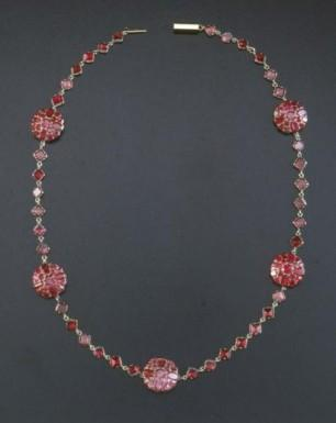This garnet necklace dates to the beginning of Martha's marriage to George Washington. It was probably part of a shipment of jewelry from London that arrived in 1759. Garnets were common among the jewelry Martha purchased in the 1750s and 1760s, as they were one of the most fashionable of gemstones at the time. (Mount Vernon Ladies' Association)