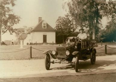 A 1931 photograph of Mount Vernon employee James Garfield Duvall with the 1923 American-LaFrance Combination Chemical and Hose Car.