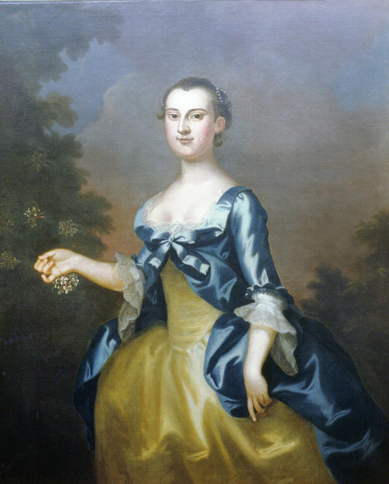 Portrait of Martha Dandridge Custis, John Wollaston, oil on canvas, 1757. Washington-Custis-Lee Collection, Washington and Lee University, Lexington, VA. [U1918.1.1]