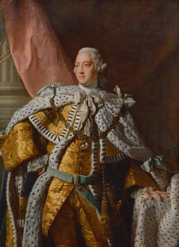 King George III, studio of Allan Ramsay, oil on canvas (1761-1762), Purchased 1866, courtesy of the National Portrait Gallery, London