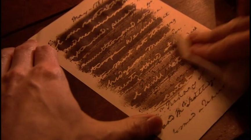 "Acquiring intelligence about troop movements, supplies, and battle plans was General Washington's highest priority. Because such field reports could not be overtly communicated to him, placing his agents at great risk, Washington used an 18th-century form of invisible ink known as ""sympathetic stain."" (History Channel)"