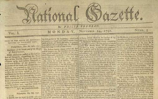 Head of the National Gazette newspaper edited by Philip Freneau (Library of Congress)